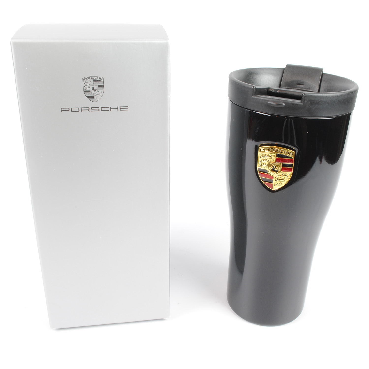 Porsche Brushed Stainless Steel Thermal Beaker with Crest